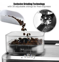 15 Bar Espresso Coffee Maker 2 Cup with Built-in Steamer Frother and Bean Grinder