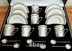 1920's Aynsley China Cased Coffee Cup & Saucers Set Silver Holders & Bean Spoons