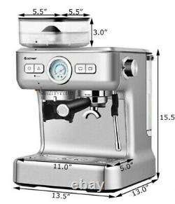 Costway 20 Bar Espresso Coffee Machine 2/Cup W Build In Steamer Frother And Bean