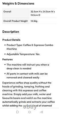 Cuisinart Veloce Bean to Cup Espresso & Coffee Machine