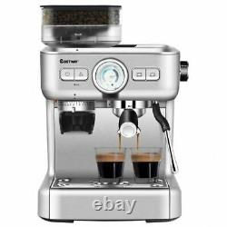 D15 Bar Espresso Coffee Maker 2 Cup withBuilt-in Steamer Frother and Bean Grinder