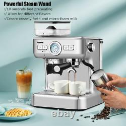 Espresso Coffee Maker 2 Cup Built In Steamer Frother Bean Grinder Kitchen Drinks