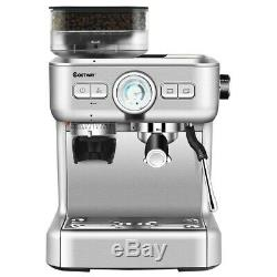 Espresso Coffee Maker 2 Cup With Built-in Steamer Frother And Bean Grinder New