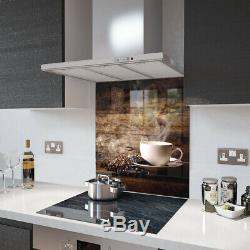 Glass Splashbacks White Coffee Cup With Beans Glass and Accessories